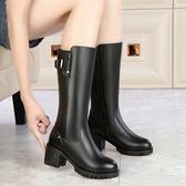 特賣高筒高跟鞋高跟女士靴子女冬真皮高筒中跟長靴粗跟加絨中筒靴皮面雪地靴棉鞋