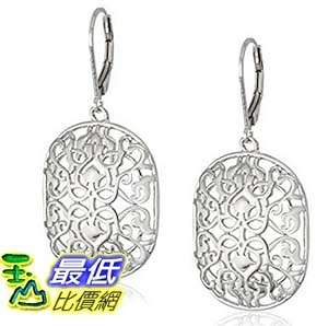 [美國直購] Rhodium Plated Sterling Silver Filigree Dangle Lever Back Earrings 耳環