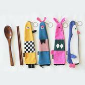 新年好禮 日式創意卡通布藝便攜餐具木質紅木環保筷子勺子兩件卡通布袋