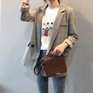 復古經典格紋長袖西裝外套女上衣【83-15-8YX0317-21】ibella 艾貝拉