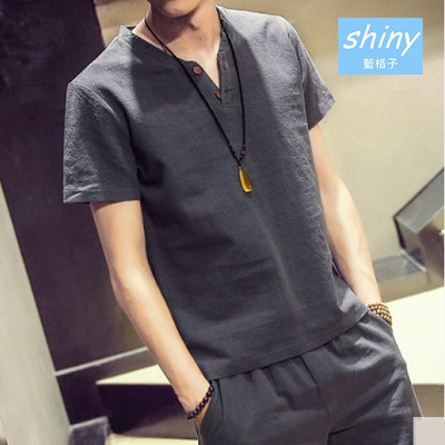 【Y074-1】shiny藍格子-瑕疵特賣.夏季日系復古棉麻大碼V領短袖上衣