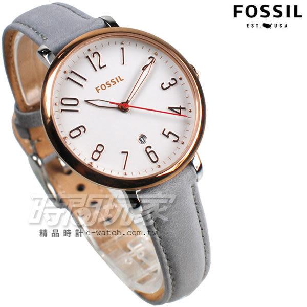 FOSSIL 古典風雅 數字圓錶 灰色x玫瑰金 皮帶女錶 ES4032 fossil jacqueline 防水手錶 日期顯示視窗