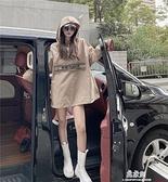 中長款連帽連帽T恤女秋季新款港味韓版寬鬆復古BF風時尚長袖上衣 易家樂