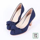 【ORiental TRaffic】2way扭結楔型包鞋-藍色