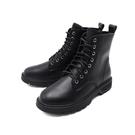 【南紡購物中心】WALKING ZONE(女) 馬汀軟皮中筒靴 女鞋 - 黑 (另有白)