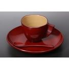 【日本製】【越前漆器】古代朱 吉野咖啡杯 杯盤組 附湯匙 SD-2024 - 日本製