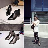 丁果、大尺碼女鞋34-44►甜美風經典尖頭低跟踝靴短靴子*3色