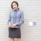 襯衫制服/細排荷葉黑緞帶長袖襯衫【Seb...