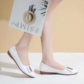 秒殺小皮鞋一腳蹬淺口小皮鞋女英倫春秋工作護士鞋平底休閒單鞋