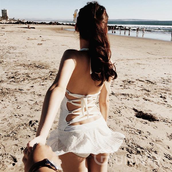 網紗 繞頸綁帶連身 後交叉特色露背泳裝 性感款 氣質洋裝型 爆乳+集中+顯瘦 鋼圈 泳衣