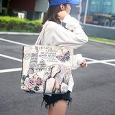 文藝復古森系少女印花單肩布袋百搭帆布包手提大包包潮【熱銷88折】