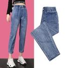 牛仔褲女寬鬆薄款春夏季鬆緊高腰破洞九分老爹蘿卜褲哈倫褲子 黛尼時尚精品