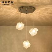 吊燈 燈飾餐廳創意個性吊燈複古餐桌客廳咖啡館吧台樓梯玻璃吊燈  汪喵百貨