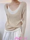 假兩件上衣2021早秋新款慵懶假兩件針織衫毛衣女春秋薄款修身長袖打底衫上衣 JUST M