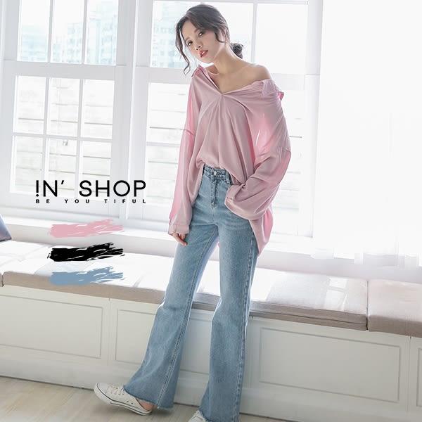 IN' SHOP 韓系微性感後槓美背襯衫 -共5色 【KT220344】