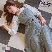 洋裝 格紋綁帶無袖背心長洋裝-Ruby s 露比午茶