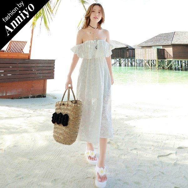 Anniyo安妞‧一字領多穿法氣質浪漫海邊度假波西米亞長裙純色蕾絲沙灘裙連衣裙中長款洋裝‧白色