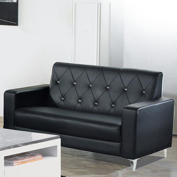 標緻黑皮水鑽雙人座沙發(18JF/176-2)【DD House】
