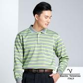 【Emilio Valentino】時尚配色橫條紋加厚保暖POLO衫 - 灰/綠