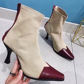 短靴子女高跟鞋彈力襪細跟馬丁靴短筒【南風小舖】