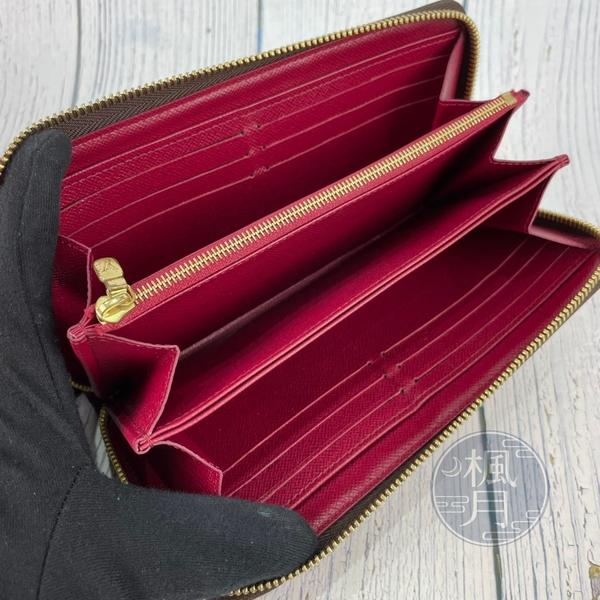 BRAND楓月 LOUIS VUITTON 路易威登 LV M41895 原花 桃紅內裡 拉鍊長夾 皮夾 錢包
