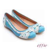 effie 繽紛舒適 羊皮拼接壓紋扭結平底鞋  淺藍