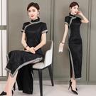越南旗袍洋裝 春季新款復古民國風時尚性感修身 黑色旗袍連身裙長款中年媽媽裝