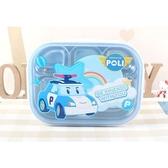 〔小禮堂〕POLI波力 救援小英雄 四面扣蓋不鏽鋼餐盤式便當盒《銀藍.彩紅》保鮮盒.餐盒 8806365-04827