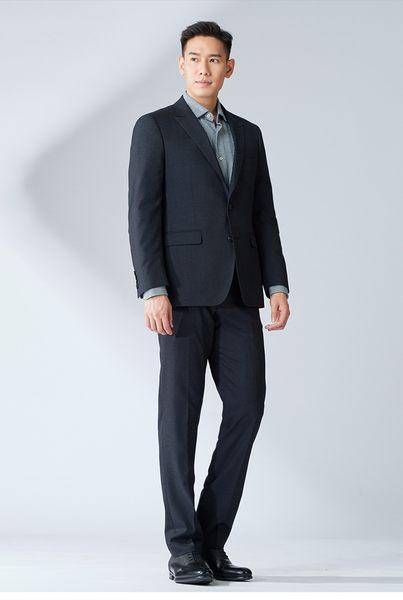 極品西服 大氣品味商務羊毛小劍領西裝外套_黑灰斜紋 (AW701-3G)
