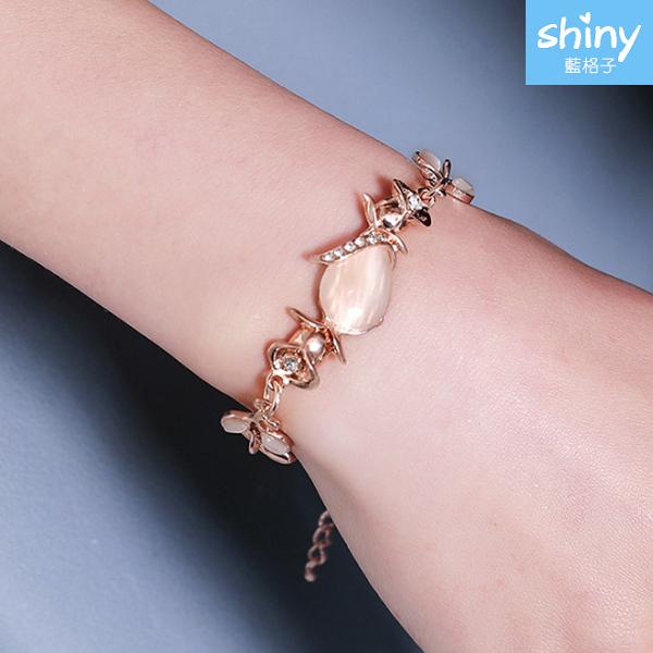 【33A45】shiny藍格子-獨特美尚.耀眼貓眼石樹葉玫瑰金手鏈