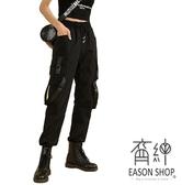 EASON SHOP(GW7100)實拍黑色重工大口袋壓釦飄帶設計鬆緊腰工裝褲抽繩綁帶束腳長褲直筒九分褲休閒褲