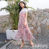 雪紡洋裝夏裝長款小清新套裝寬鬆顯瘦兩件套碎花吊帶裙 『歐韓流行館』