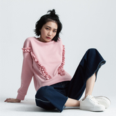 SISJEANS-粉色寬鬆抽褶落肩上衣【1729602241】