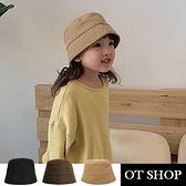 OT SHOP [現貨] 男女童帽子 漁夫帽 水桶帽 盆帽 遮陽帽 帽圍可調 素色 日系配件 黑/咖啡/卡其 C5047