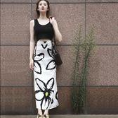 度假a字印花中長款高腰包臀半身裙套裝修身背心裙套裝女 黛尼時尚精品