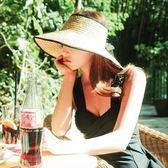 韓版空頂草帽女夏天優雅可摺疊大檐遮陽帽子海邊沙灘帽絲帶無頂帽 萬聖節