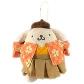 小禮堂 布丁狗 絨毛吊飾 娃娃 布偶 玩具 吊飾 掛飾 鑰匙圈 鎖圈 (橘 和服) 4548643-14449