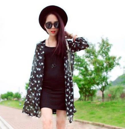 韓版星星雪紡防曬罩衫 / 開衫 薄外套 夏季女生必備 99元