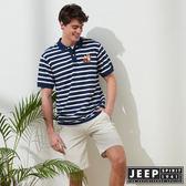 【JEEP】時尚狐狸圖騰條紋短袖POLO衫-藍