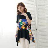 闕蘭絹 修身感幾何圖形傘狀黑色針織上衣-6402 藍