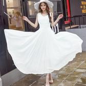 白色洋裝—夏季新款女裝雪紡連身裙背心超長款修身顯瘦波西米亞大擺長裙10/16