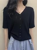 短袖針織衫 夏季2021新款設計感小眾V領黑色短袖針織開衫法式復古短款上衣女 伊蘿