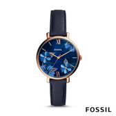 FOSSIL JACQUELINE 花漾深藍色皮革女錶 36mm