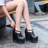 恨天高 超高跟坡跟內增高厚底女鞋15公分交叉綁帶16cm恨天高高跟皮鞋裸靴 LN5541 【雅居屋】