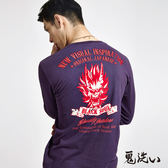 【限時優惠】爆裂鬼斑駁印繡長袖T恤(紫) - 鬼洗い BLUE WAY