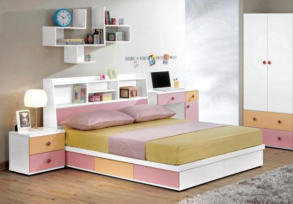 【森可家居】安妮塔5尺書架型床頭箱 7CM173-1 雙人 粉紅 白色 收納功能
