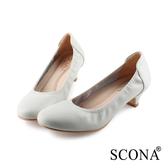 SCONA 蘇格南 全真皮 都會簡約真皮低跟鞋 米色 31009-2