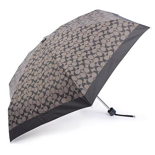 COACH 經典滿版LOGO自動晴雨傘(黑灰色)193717