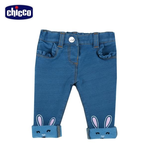 chicco- To Be BG-小兔反折彈性針織牛仔長褲