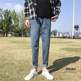 夏季直筒牛仔褲男修身長褲復古韓版百搭男生褲子【聚物優品】